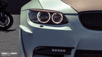 Glaring into the piercing headlights of a vastly modified BMW M3